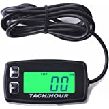 Searon Backlit Tach Hour Meter Tachometer RPM Waterproof for 2/4 Stroke Engines RC Toys PWC ATV Motorcycles Marine Engines Chain Saws Tractors Lawnmowers