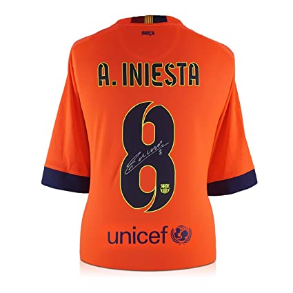 f83dd639fc8 Image Unavailable. Image not available for. Color  Andres Iniesta Signed  2014-15 Barcelona Away Jersey ...