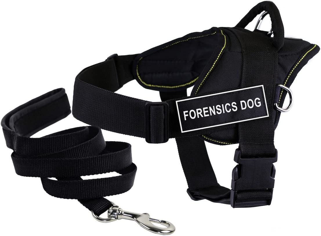 "Dean & Tyler's DT Fun ""FORENSICS DOG"" Harness, Large, with 6 ft Padded Puppy Leash."