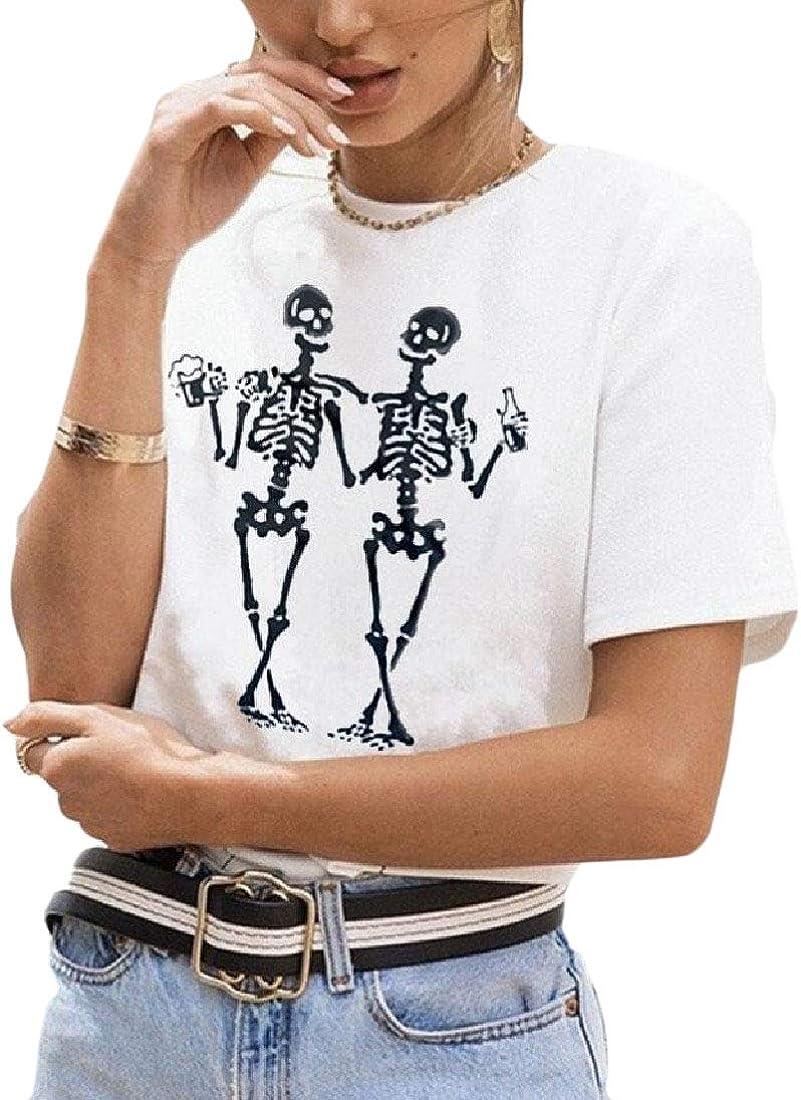 Vska Women Short Sleeve Skull Cotton Scoop Neck Tops T-Shirts Blouse