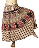 Lovely Creations Women's Indian Bohemian Boho Gypsy Multi Color Printed Skirt(QQ Red3),One Size