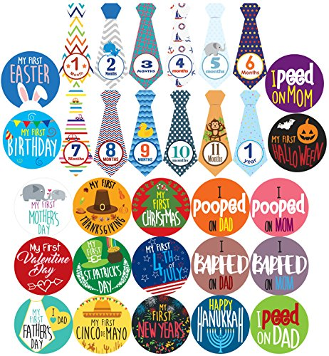 (Baby Boy Monthly Milestones, Baby's First & Holiday Sticker Pack - Baby Shower Gifts for Boys - Photo Props)