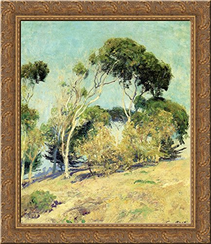 (Windswept Trees, Laguna 24x20 Gold Ornate Wood Framed Canvas Art by Guy Rose)