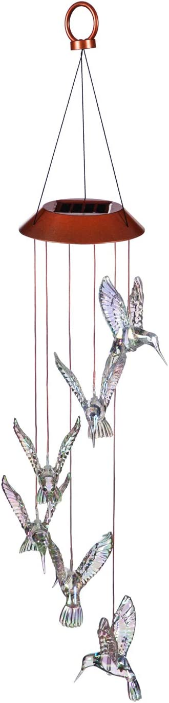 Evergreen Garden Beautiful Summer Colorful Iridescent Hummingbird Solar Hanging Mobile - 5 x 5 x 26 Inches Fade and Weather Resistant Outdoor Decoration for Homes, Yards and Gardens