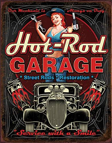 "Desperate Enterprises Hot Rod Garage - Pistons Tin Sign, 12.5"" W x 16"" H"