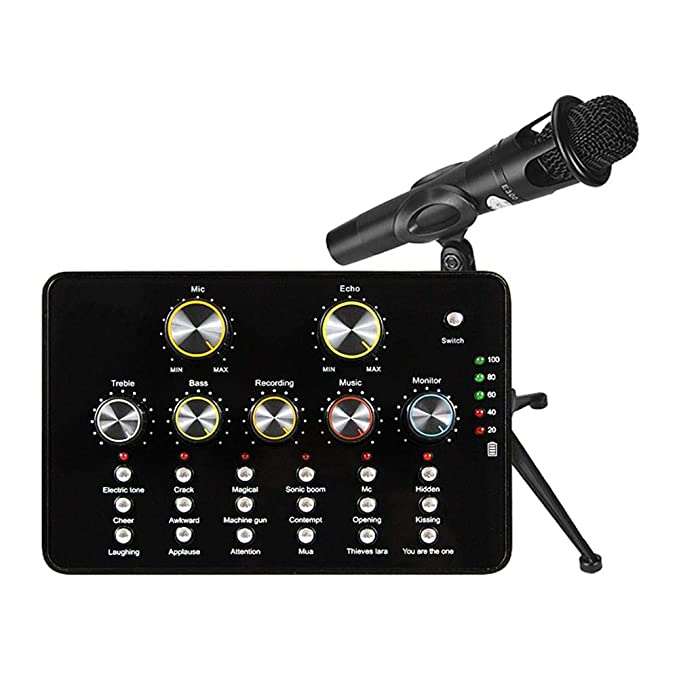 Internet Sound Card V10 USB Audio Microphone Portable Sound Blaster Audigy Personal Streaming Live Sound Applicable to PC Phone