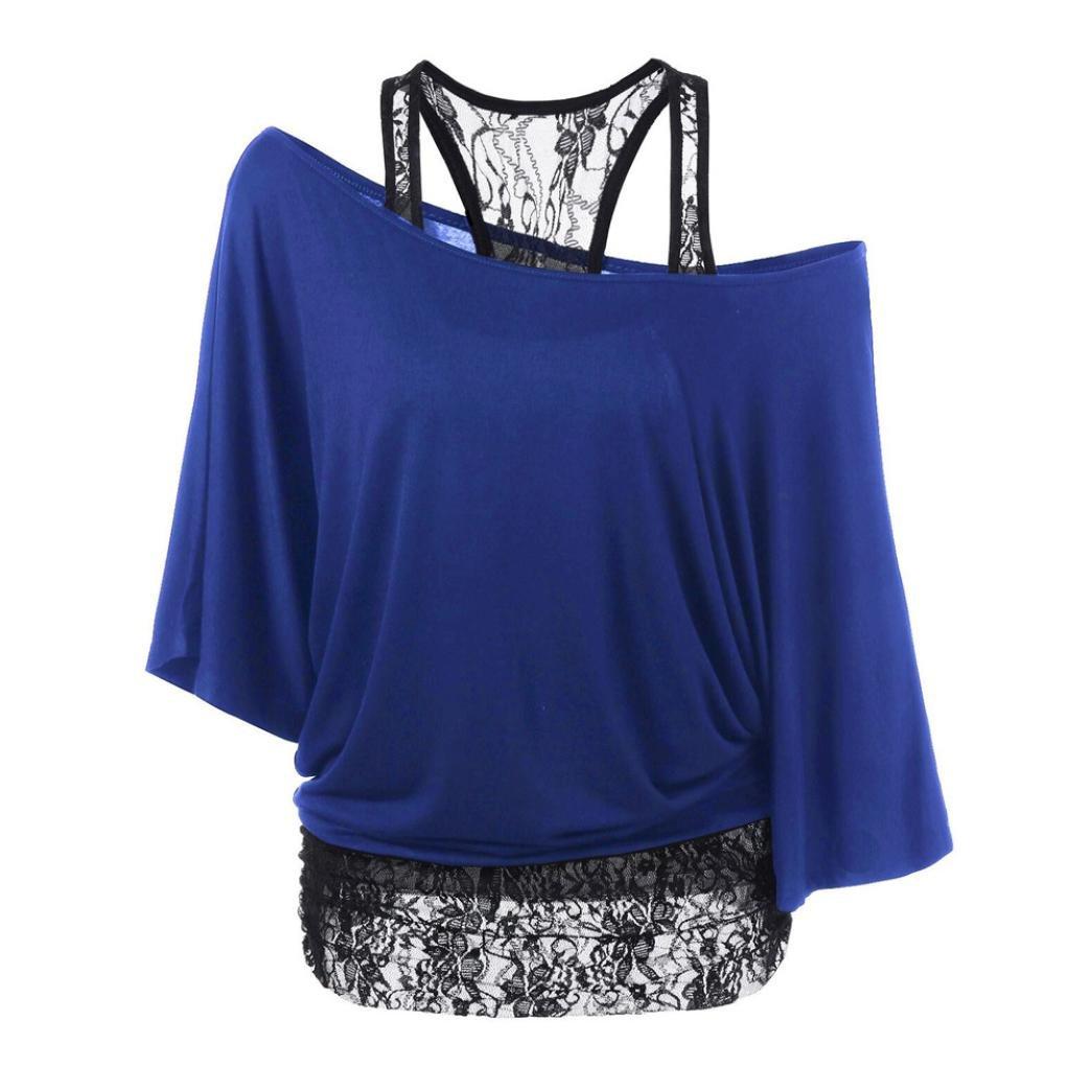 Damen Schön Spitze Lose Bluse Amlaiworld Stitching Fleder mausärmeln Mantel T-Shirt 1316