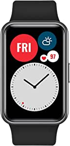 """HUAWEI Watch FIT Smartwatch with 1.64"""" Vivid AMOLED Display, Workout Animations, 10 Days Battery Life, 96 Workout Modes, Built-in GPS, 5ATM, SpO2 Detection, Heart Rate & Sleep Monitoring - Black"""