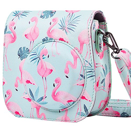Protective & Portable Case Compatible with Fujifilm Polaroid Instax Mini 9 8 8+ Instant Film Camera with Accessory Pocket and Adjustable Strap - Flamingo by SAIKA