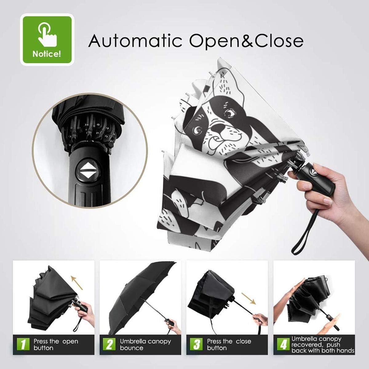 Black Cartoon Bulldog Compact Travel Umbrella Windproof Reinforced Canopy 8 Ribs Umbrella Auto Open And Close Button Customized