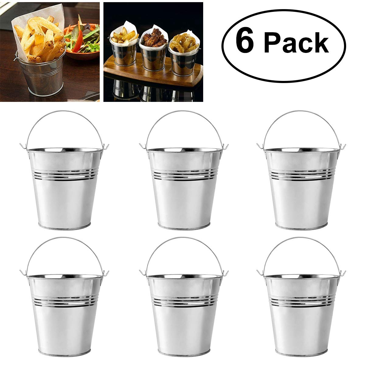 OUNONA Mini Metal Bucket Set of 6 /Mini Food Containers/Succulent Wedding Buckets 10.5x7.2x10.5cm