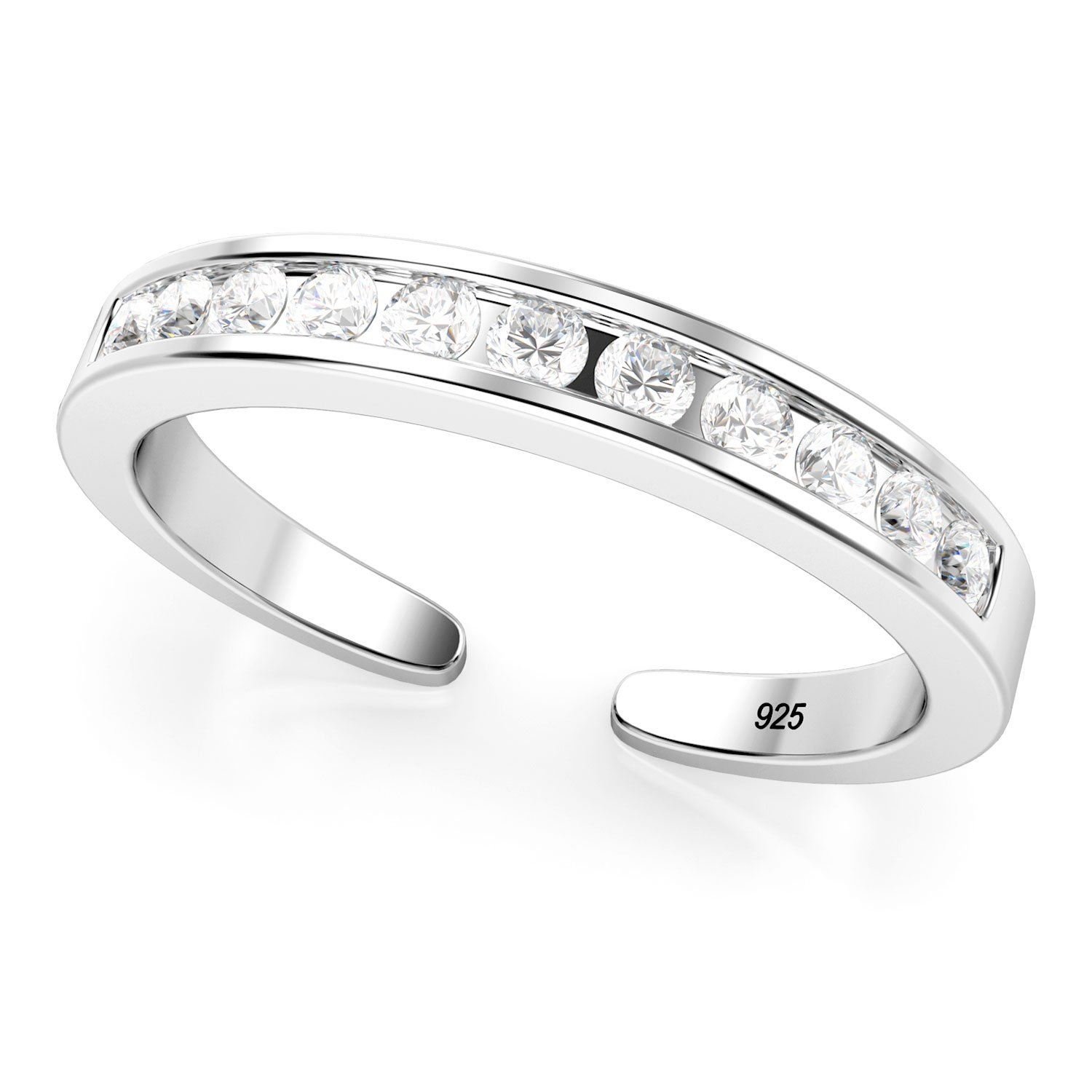 Sterling Silver Cubic Zirconia Adjustable Toe Band Ring Metal Factory MF00263
