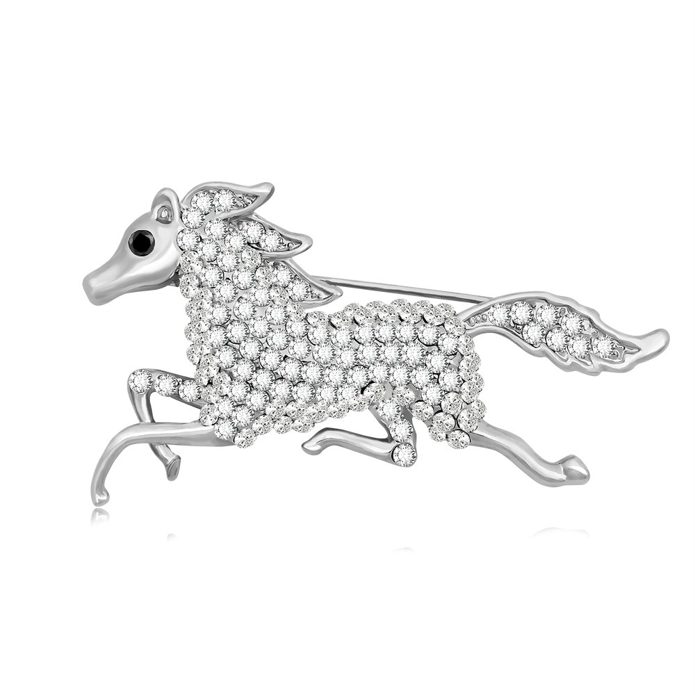 TUSHUO Galloping Horse Jockey Equestrian Animal Fashion Brooch Pin Charm Running Horse Jewelry (Silver)