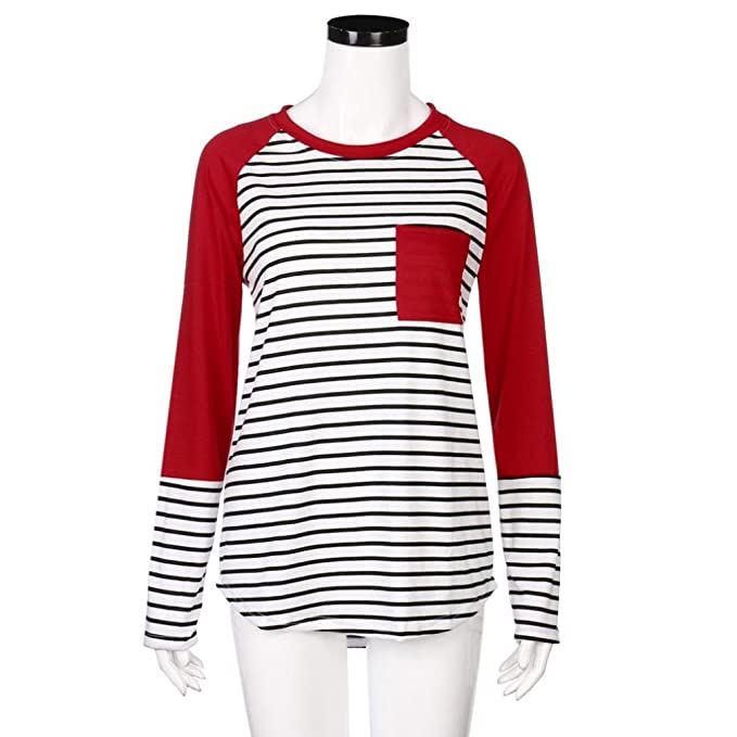 Zarupeng Women Stripe Long Sleeve T-Shirt Pocket Pullover Casual O-Neck Blouse Tops: Amazon.es: Ropa y accesorios