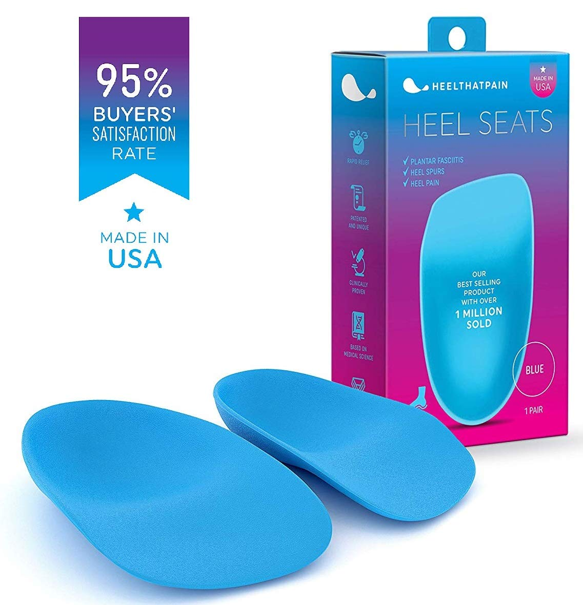 Heel That Pain Heel Seats Foot Orthotic Inserts - Heel Cups Cushions Insoles for Plantar Fasciitis, Heel Spurs, and Heel Pain, Blue, Large (Women's 10.5-13, Men's 8.5-12), 2 Pack