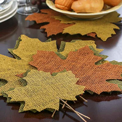 Eclectic Accents Package of 15 Assorted Size Large Stiffened Earth Tone Burlap Leaves for Embellishing, Decorating and Displaying