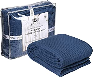HILLFAIR 100% Combed Cotton Blanket– King Size Bed Blankets– Warm Soft All Season Breathable Lightweight Summer Blankets– Waffle Weave Home Decor Bed Blanket- Navy King Bed Cotton Blankets/Bedcovers