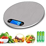 Digital Scale Kitchen Multi-Function Electric Food Scale LCD Display Food Grade Stainless Steel Unit Conversion Silver Round (5kg/1g)