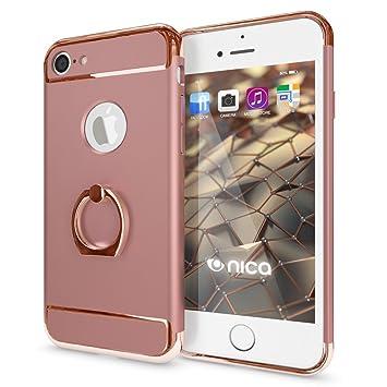 1257c3772a2 NALIA Funda con Anillo Compatible con iPhone 7, Carcasa Dura Ultra-Fina con  360 Grados Rotaria Kickstand, Ring-Case Hard-Cover Cubierta Protectora  Delgado ...
