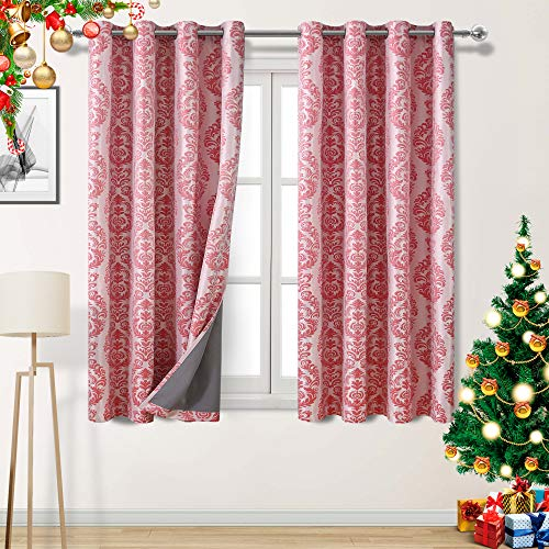 DWCN Total Blackout Curtains with Coating Back Thermal Insulated Jacquard Drapes for Living Room and Bedroom, 52 x 63 inch, Set of 2 Red Panels (Total Curtains Blackout)