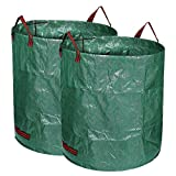 Dulcii 2 x 72 Gallon Garden Bag, Portable Large Capacity 272L Gardening Lawn and Leaf Storage Bags Weeds Container Bag, Collapsible Yard Waste Bag with Handle, 2 Packs