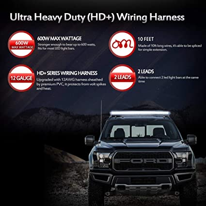Amazon.com: MICTUNING HD+ 12 Gauge 600W LED Light Bar Wiring Harness on