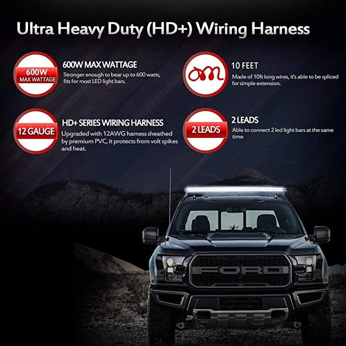 Pleasant Amazon Com Mictuning Hd 12 Gauge 600W Led Light Bar Wiring Harness Wiring 101 Breceaxxcnl