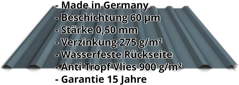 Trapezblech Farbe Kupferbraun Material Stahl Profilblech Beschichtung 60 /µm Dachblech Profil PS20//1100TRA St/ärke 0,50 mm