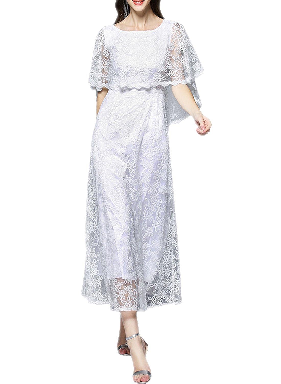 ASVOGUE Women's Chic Floral Lace Trim Cape Style Prom Dress