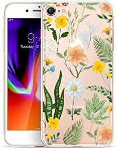 Unov Case for iPhone SE (2020) iPhone 8 iPhone 7 Clear with Design Embossed Floral Pattern TPU Soft Bumper Shock Absorption Slim Protective Back Cover 4.7 Inch (Seasons Flowers)