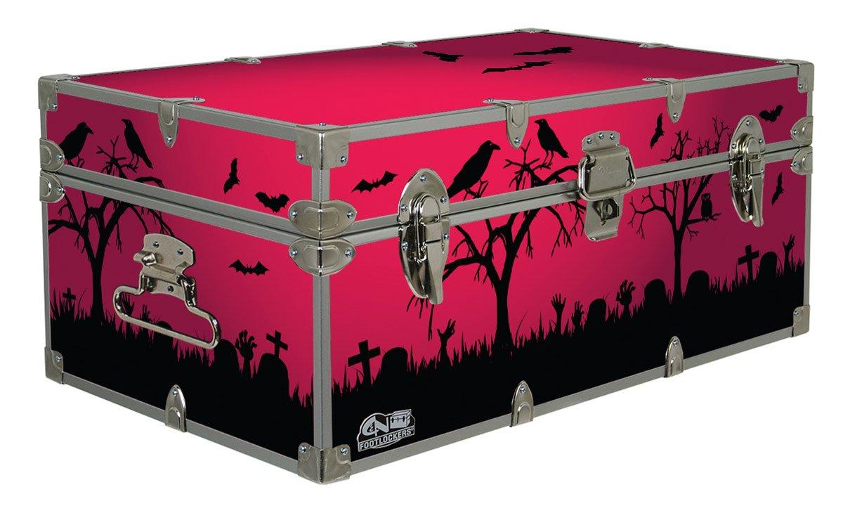 Halloween Decoration Storage Footlocker Trunk -Crows- 32 x 18 x 13.5 Inches