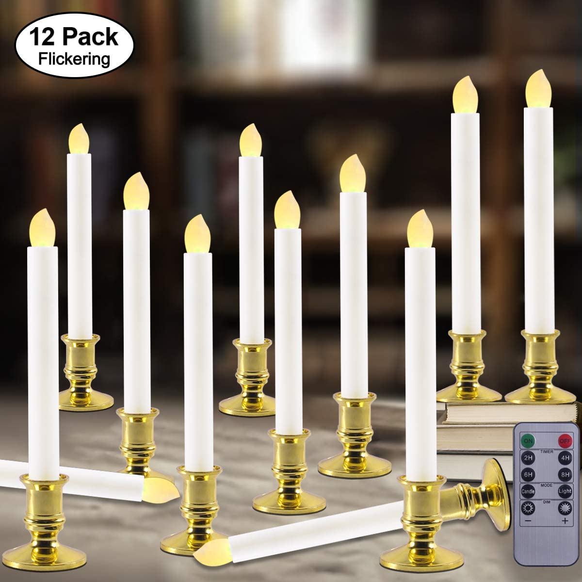 Windows Candles with Remote Timer Battery Operated Flickering LED Electric Candle Lights with Removable Tapers Pillar Candle Holders for Christmas Decorations Seasonal Celebration 12pcs Gold Base