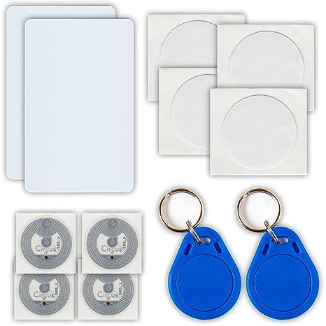 NFC Tag - Kit de 12 etiquetas NFC (10 adhesivos, 2 llaveros)