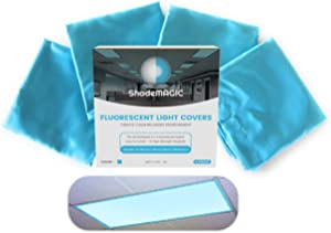 ShadeMAGIC Fluorescent Light Covers for Classroom or Office - Light Filter pack of (4); Eliminate Harsh Glare that causing Eyestrain and Head Strain. Office & Classroom Decorations. Light Diffusers
