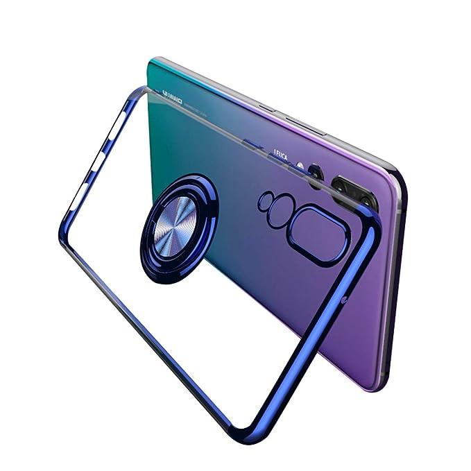Neivi Compatible con Funda Huawei P20 Lite/P20 Pro Carcasa Cubierta Transparente TPU Silicona Case con Anillo Soporte 360 Grados Protectora Caso ...