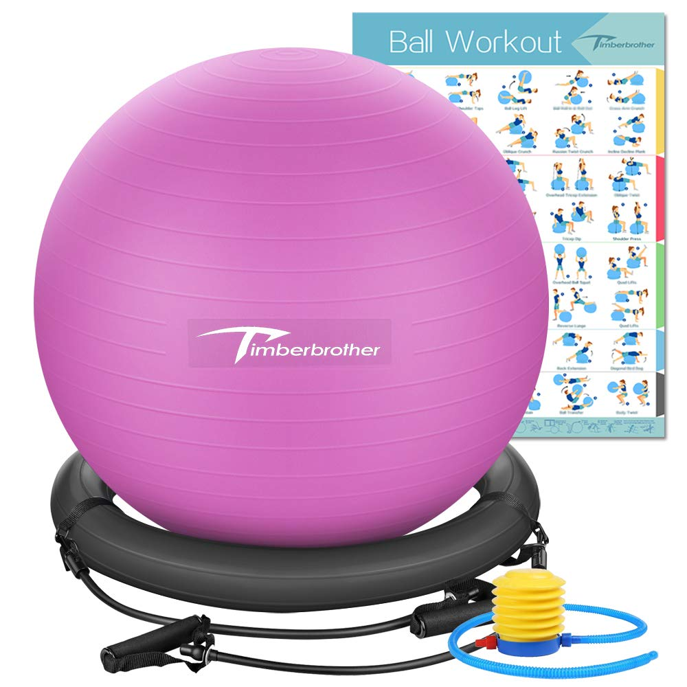 Timberbrother Anti-Burst Exercise Ball/Stability Ball 65cm Diameter with Resistance Bands & Pump for Yoga, Pilates, Fitness, Physical Therapy, Gym and Home Exercise (Violet with Ring & Bands) by Timberbrother (Image #1)