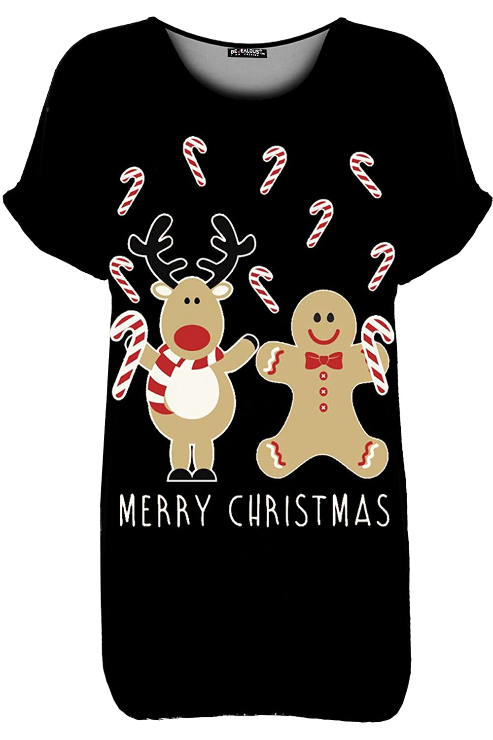 b8e124a4675 Be Jealous Women s Christmas Oversized Turn Up Sleeve Xmas Candy Red ...