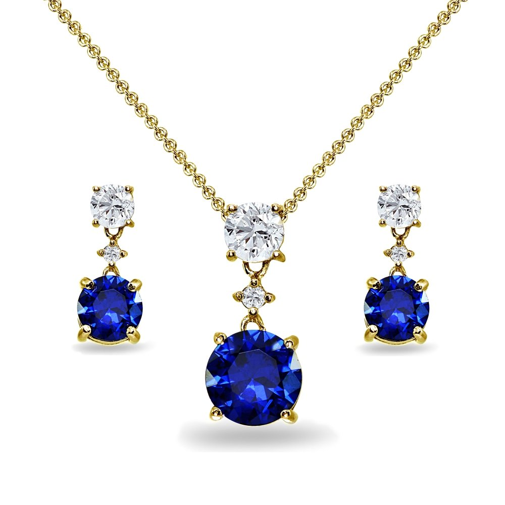 Yellow Gold Flashed Sterling Silver Created Blue Sapphire & White Topaz Round Three Stone Dangling Necklace & Stud Earrings Set