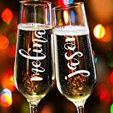Lily's Atelier Set of 2, Hand Engraved Bride & Groom Name Custom Wedding Toast Champagne Flute Set, Wedding Toasting Glasses - Etched Flutes for Bride & Groom Customized Wedding Gift #EH6