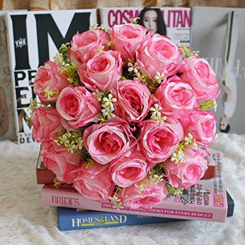 Transer-18Head-Artificial-Silk-Roses-Flowers-Bridal-Bouquet-Rose-Home-Wedding-Decor-D-Multicolor