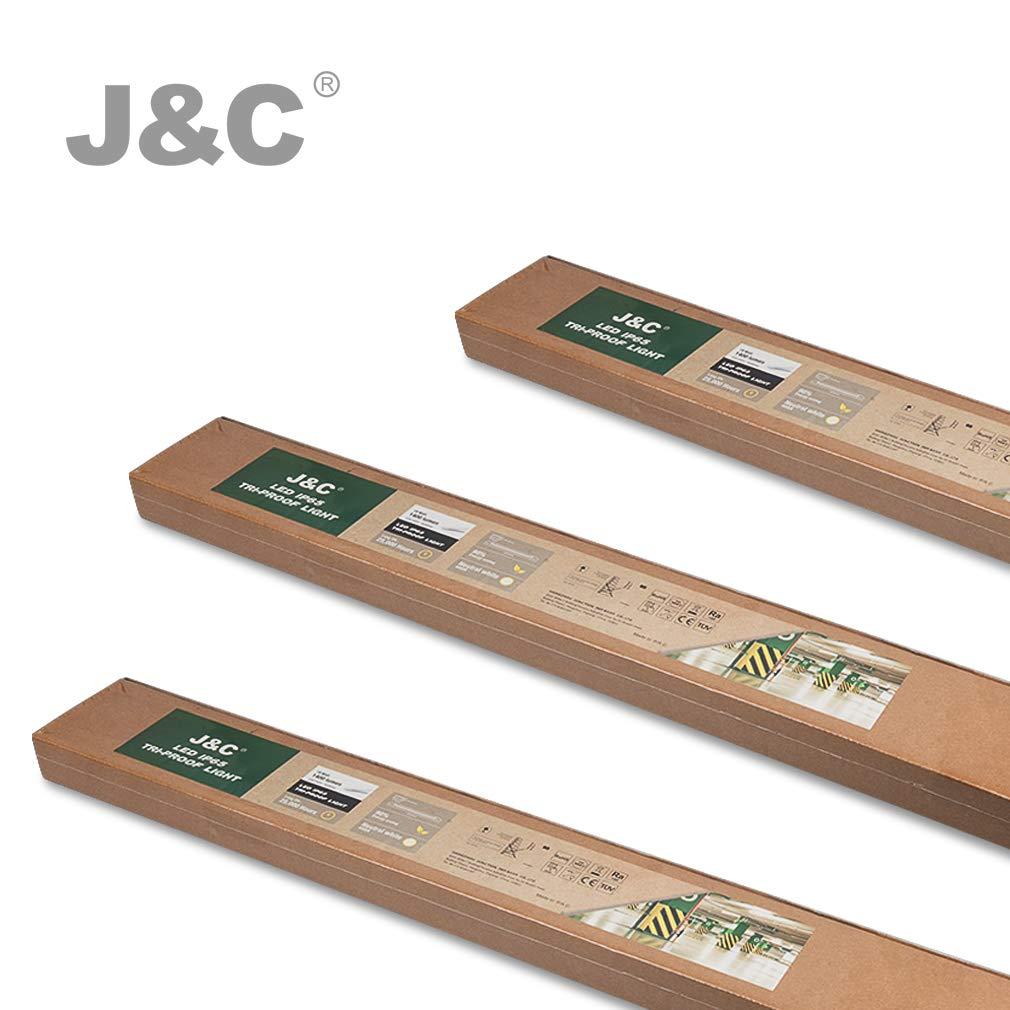 Plafonnier Tube LED 36W, 2800 Lumens, 4200K 220V IP65 Garage Eclairage J/&C 120cm /Étanche R/églettes LED Ext/érieur//Int/érieur