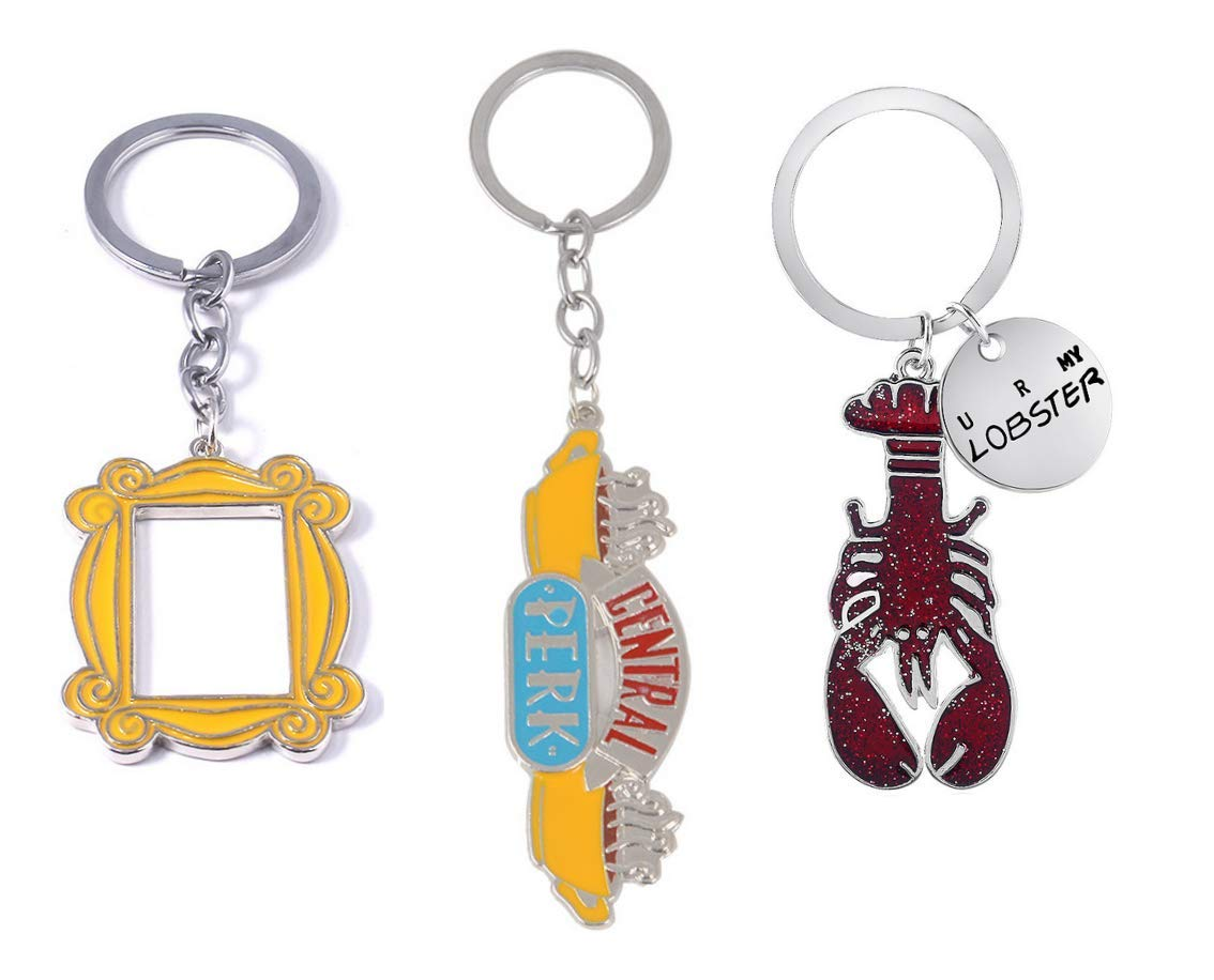 ویکالا · خرید  اصل اورجینال · خرید از آمازون · Friends TV Show Key Chains (set of 3) Badge Souvenir Set Pendant (Central Perk Coffee Time Picture, Yellow Picture Frame, Lobster) wekala · ویکالا