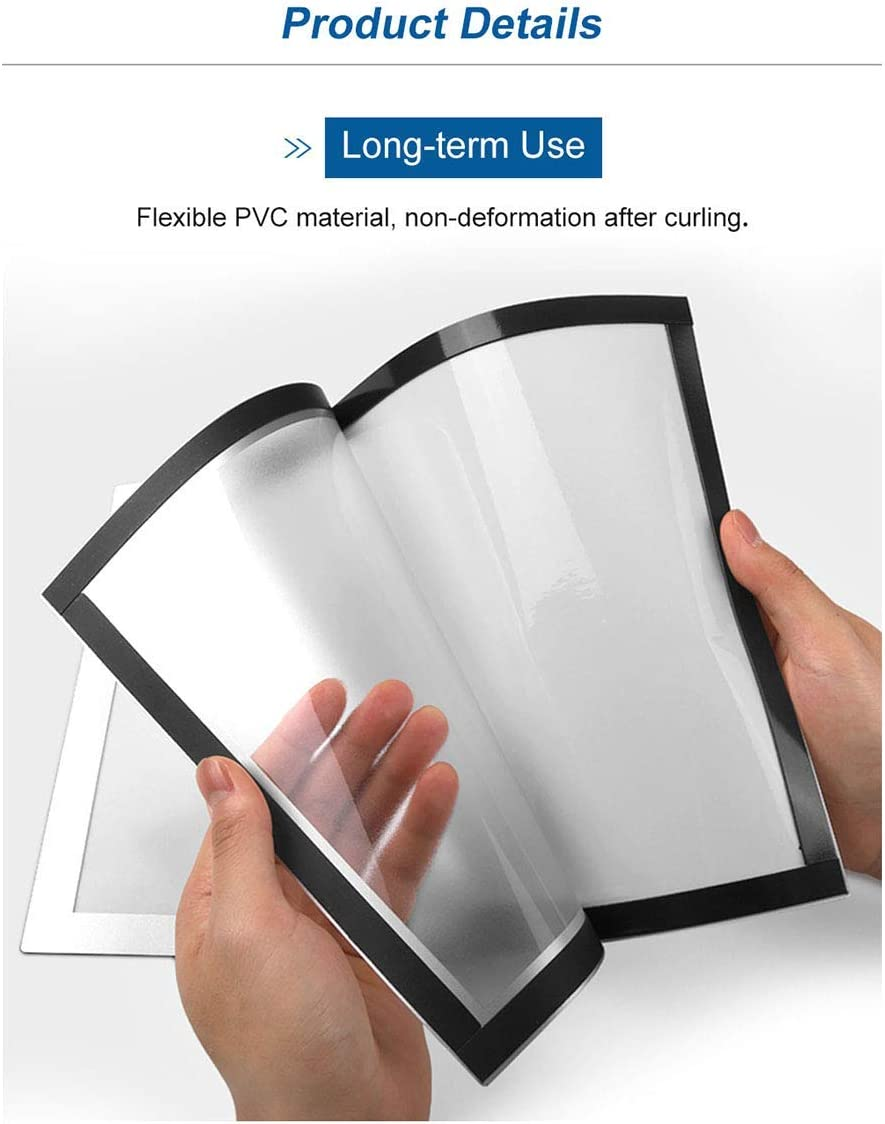 5Pack, Black VAIIGO A4 Self Adhesive Magnetic Display Frame Magnetic Paper Holder for License Documents Photos