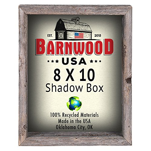 Barnwood 8 by 10 Shadow Box, Weathered Gray, 3 Inch Deep Reclaimed Wood Collectible Picture Frame