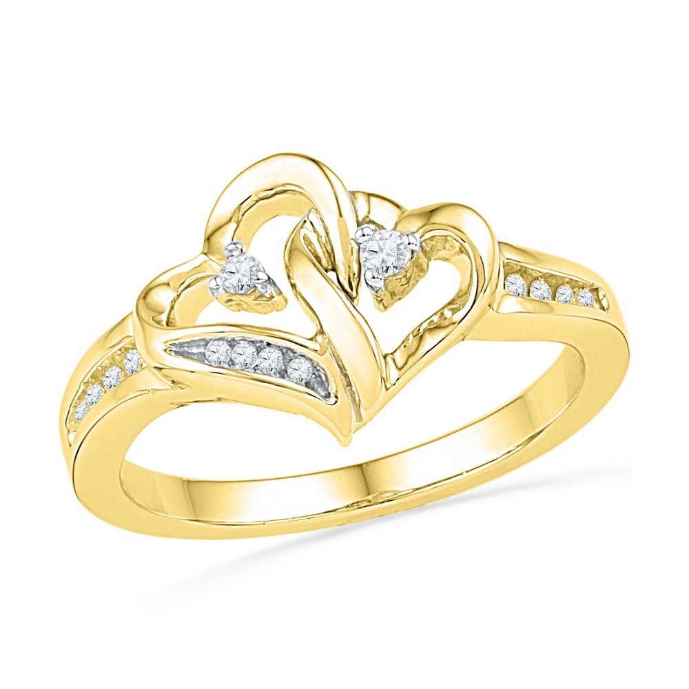 10kt Yellow Gold Womens Round Diamond Double Heart Love Ring 1/10 Cttw (I2-I3 clarity; J-K color)
