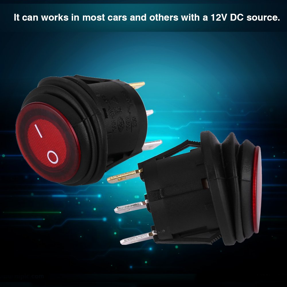 2 piezas 12V 20A Interruptor de encendido//apagado redondo de luz LED de 3 pines Interruptor de eje de balanc/ín autom/ático para auto