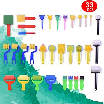 Early DIY Learning Craft Art Supplies for Kids Toddlers Foam Roller Sponge Arts Craft Washable Painting Brushes 33 Pcs Kids Drawing Tools Kits Sponge Painting Brushes