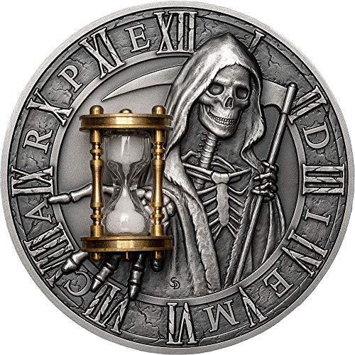 2018 NU Modern Commemorative PowerCoin CARPE DIEM Grim Reaper Hourglass 2 Oz Silver Coin 5$ Niue 2018 Antique Finish
