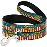 Buckle Down Dog Leash - WONDER WOMAN Logo Americana Red White Blue Yellow