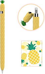 AhaStyle iPencil Case Sleeve Cute Fruit Design Silicone Soft Protective Cover Accessories Compatible with Apple Pencil 1st Generation(Yellow)